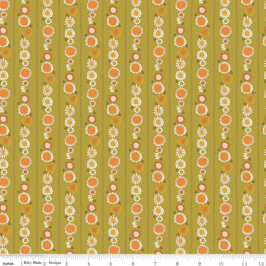 Green Daisy Chain Fabric from Guinevere Collection at Cherry Creek Fabric