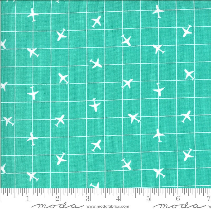 Aqua Airplane Fabric | On the Go
