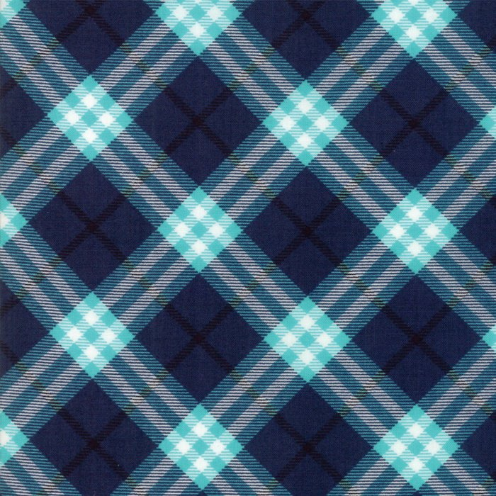 Dark Blue Plaid Fabric