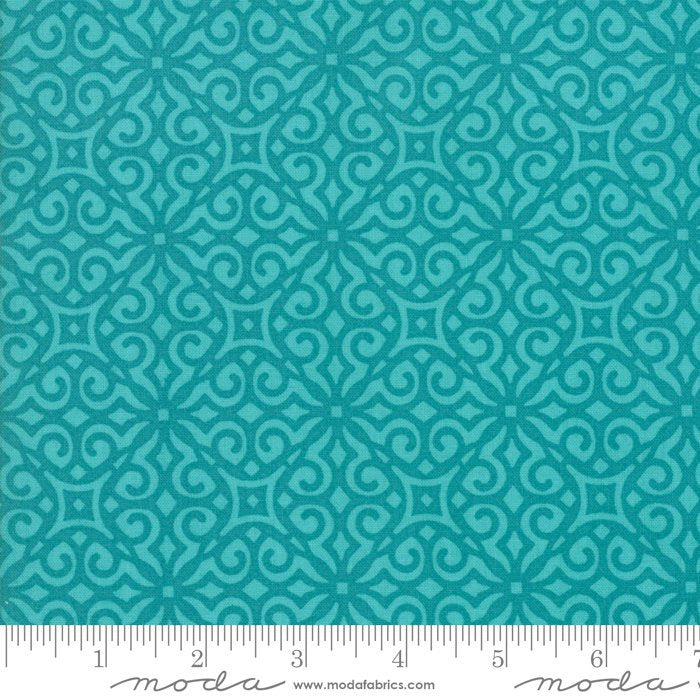 Turquoise Geometric Fabric from All Weather Friend Collection at Cherry Creek Fabric