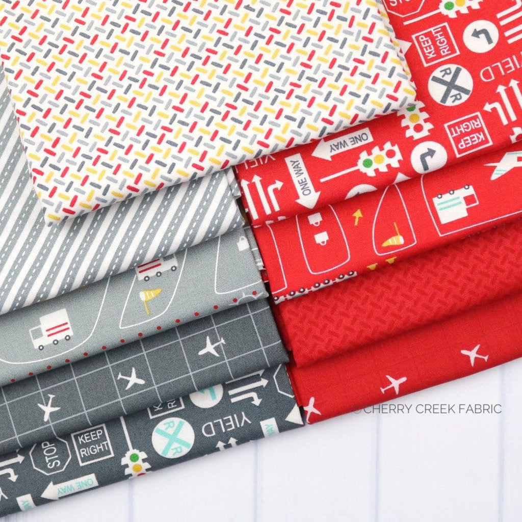 On the Go Grey & Red Fat Quarter - 9 pieces from On the Go Collection at Cherry Creek Fabric
