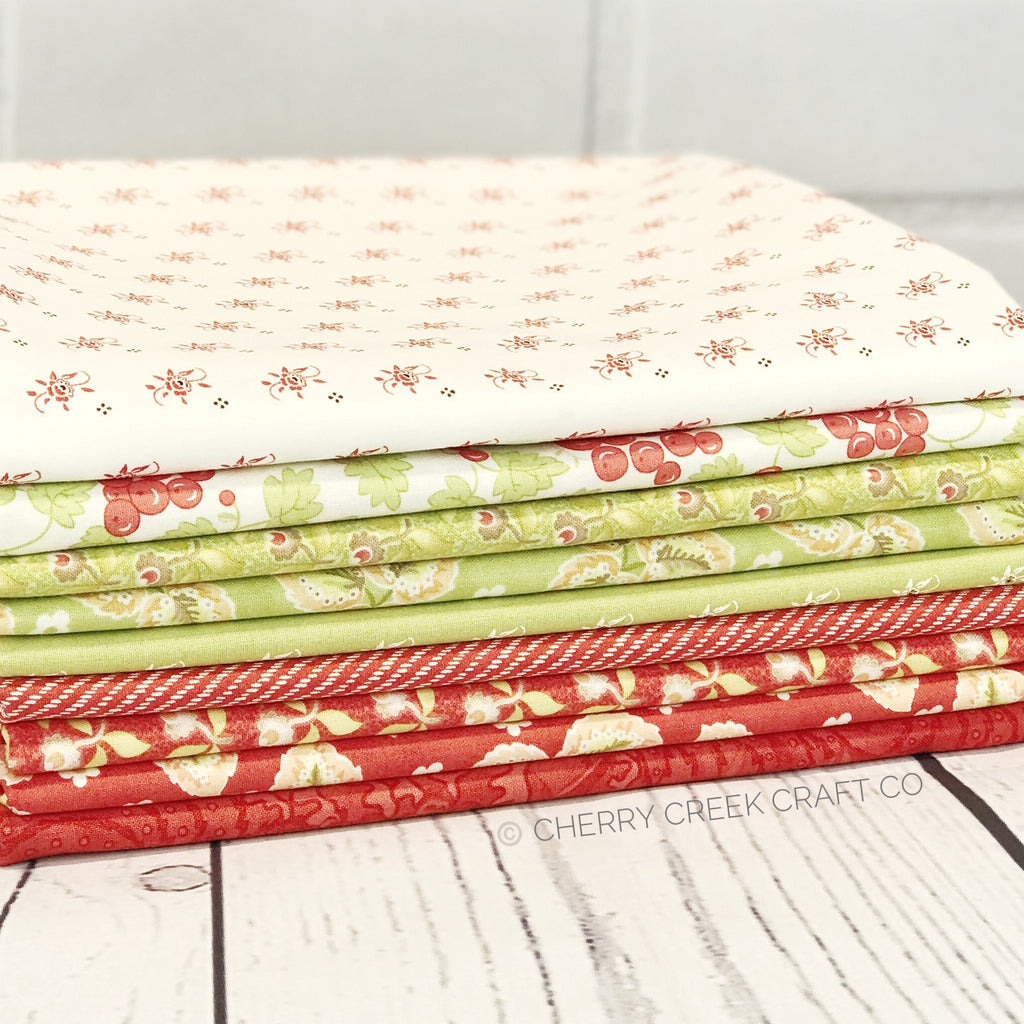 Hazel & Plum Red/Green One Yard Bundle from Hazel & Plum Collection at Cherry Creek Fabric
