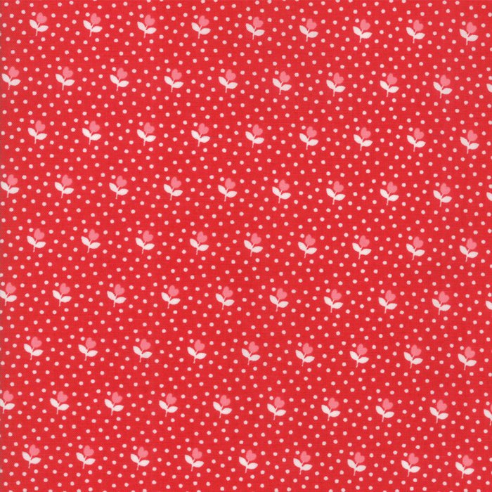 Red Flower Bud Fabric