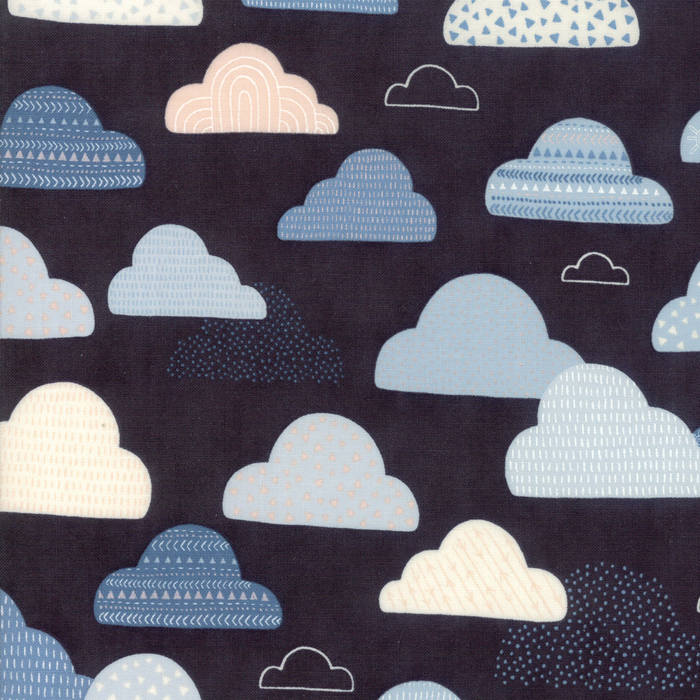 "END OF BOLT 18"" - Black Cloudy Skies Fabric from Wild & Free Collection at Cherry Creek Fabric"
