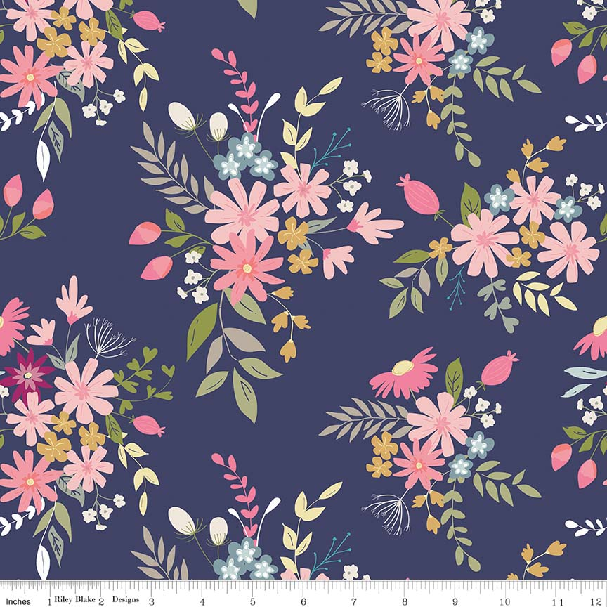Navy Meadow Fabric