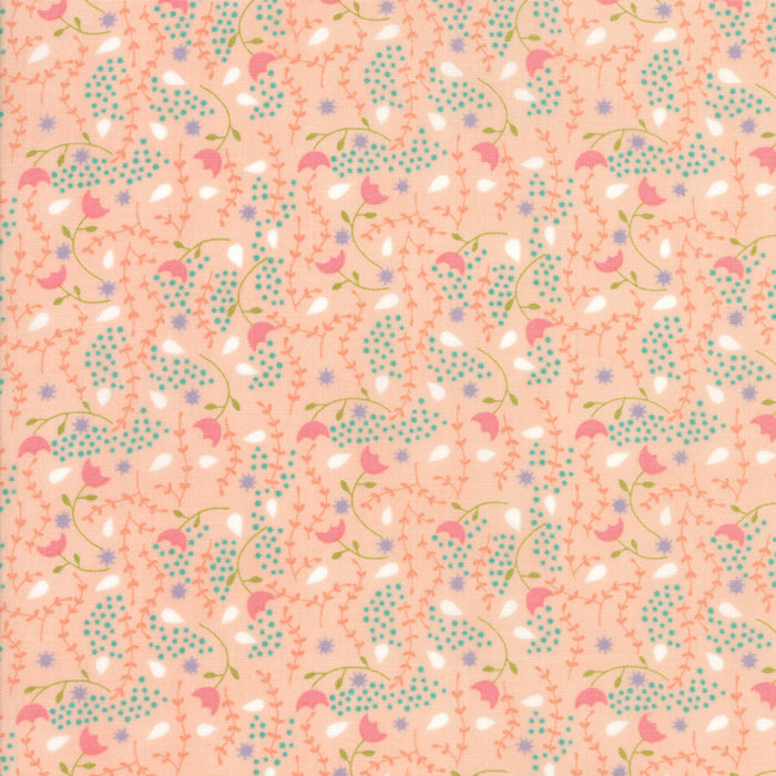 Peach Flower Vine Fabric