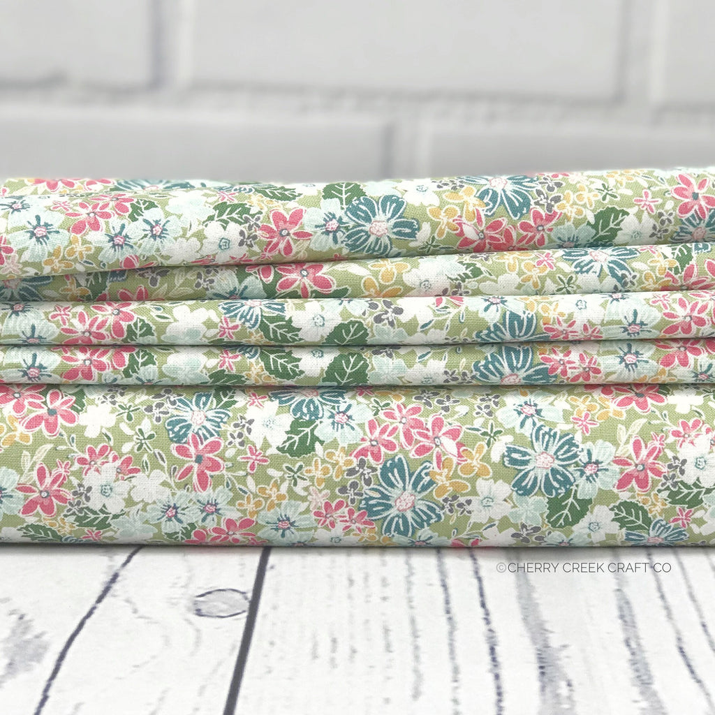 Green Floral Fabric from Grandale Collection at Cherry Creek Fabric