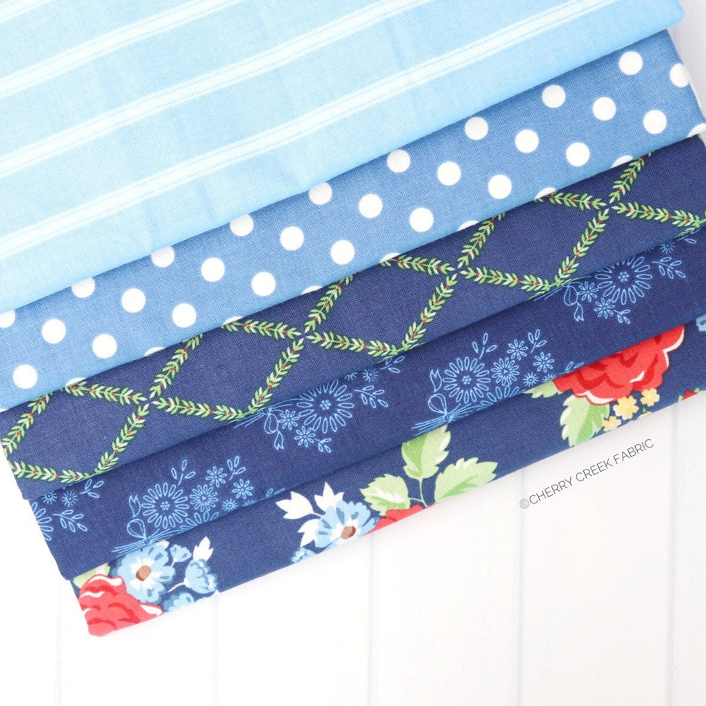 Harry & Alice Blue One Yard Bundle - 5 pieces