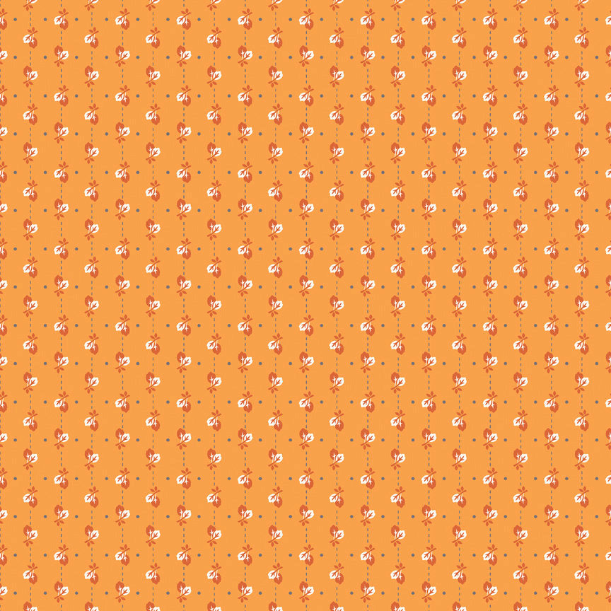 Orange Leaves Fabric
