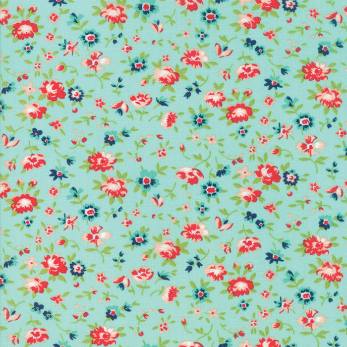 Aqua Dainty Flower Fabric - 1/2 yard
