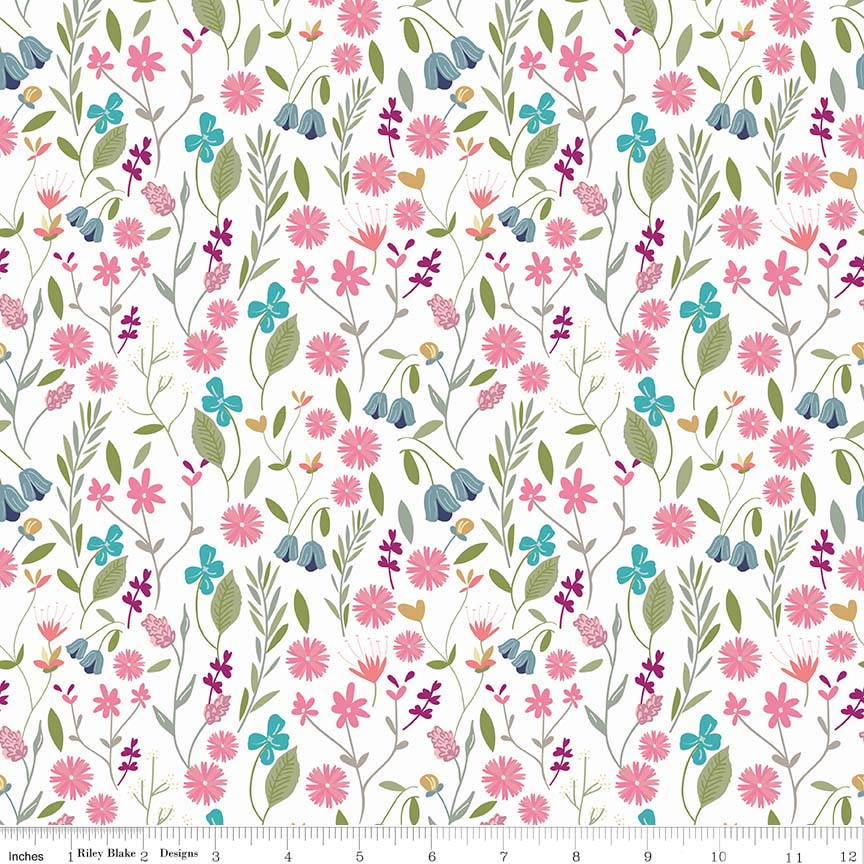 White Flower Field Fabric from In the Meadow Collection at Cherry Creek Fabric