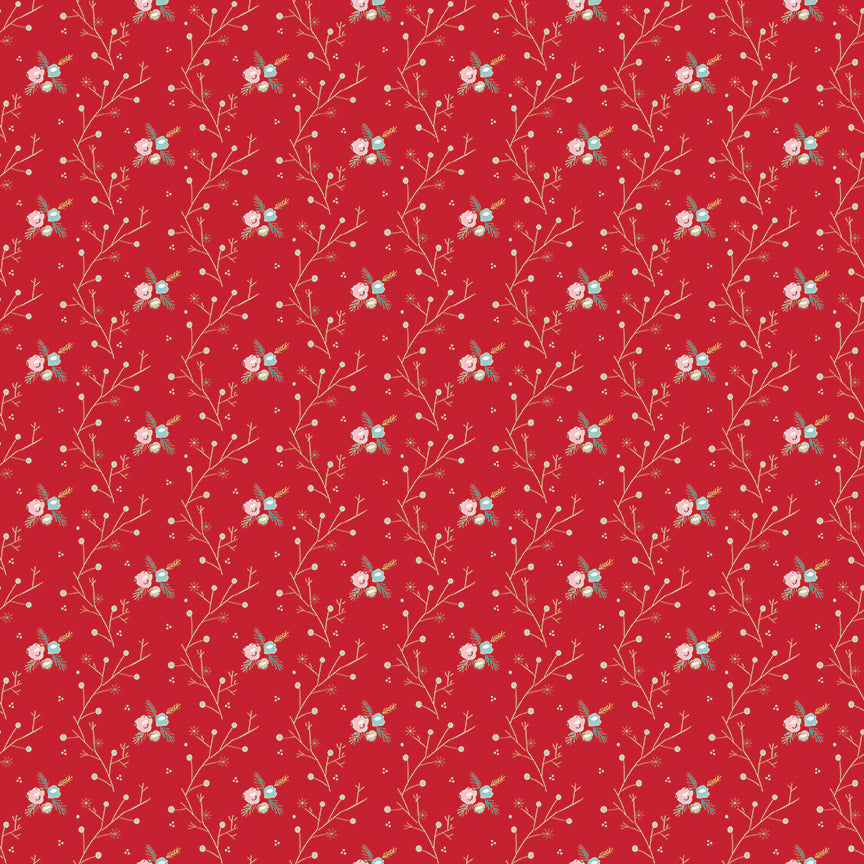 Red Winter Vine Fabric from Winter Tales Collection at Cherry Creek Fabric
