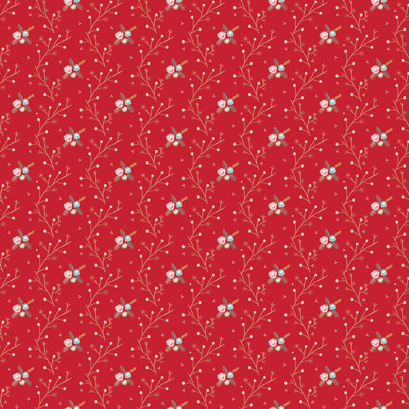 Red Winter Vine Fabric