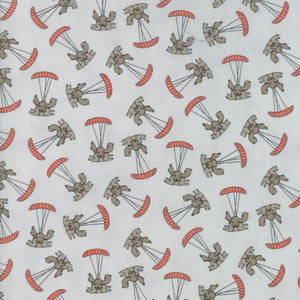 Grey Parachuting Puppy Fabric from Mighty Machines Collection at Cherry Creek Fabric