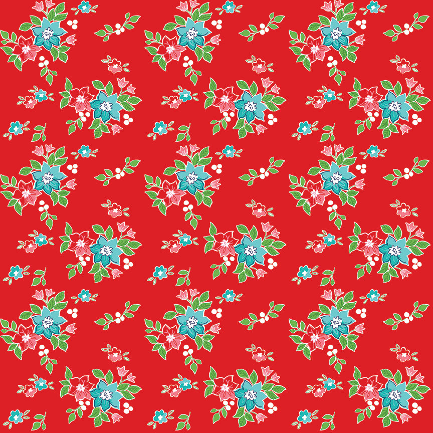 Red Seaside Floral Fabric from Seaside Collection at Cherry Creek Fabric