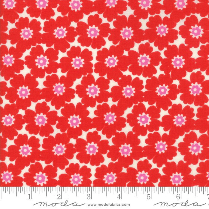 Red Floral Cosmos Fabric from Lazy Days Collection at Cherry Creek Fabric