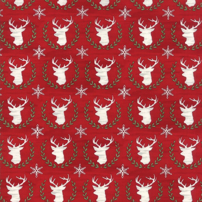 Red Laurel Deer Fabric from Hearthside Holiday Collection at Cherry Creek Fabric