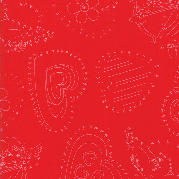 Red Connect the Dots Fabric</br>END OF BOLT </br>2 yds + 29