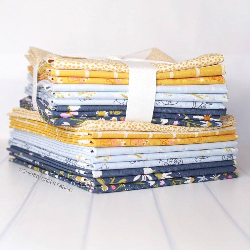 Wild Bouquet Blue & Yellow Half Yard Bundle from Wild Bouquet Collection at Cherry Creek Fabric
