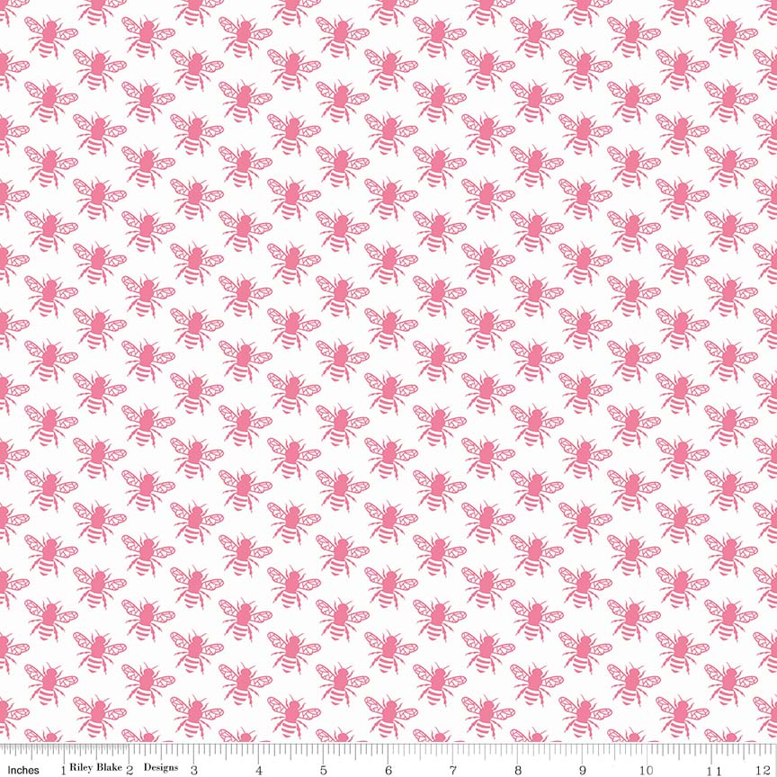 Pink Honey Bee Fabric from In the Meadow Collection at Cherry Creek Fabric