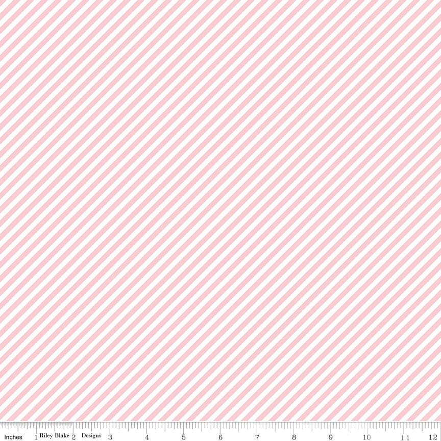 Pink Bias Stripes Fabric