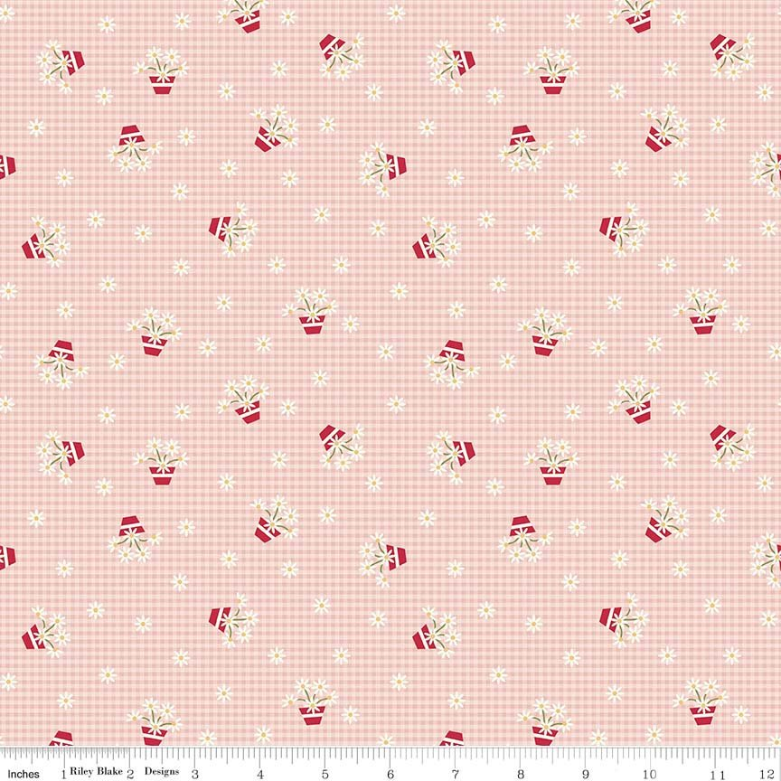 Pink Gingham Fabric from Gretel Collection at Cherry Creek Fabric
