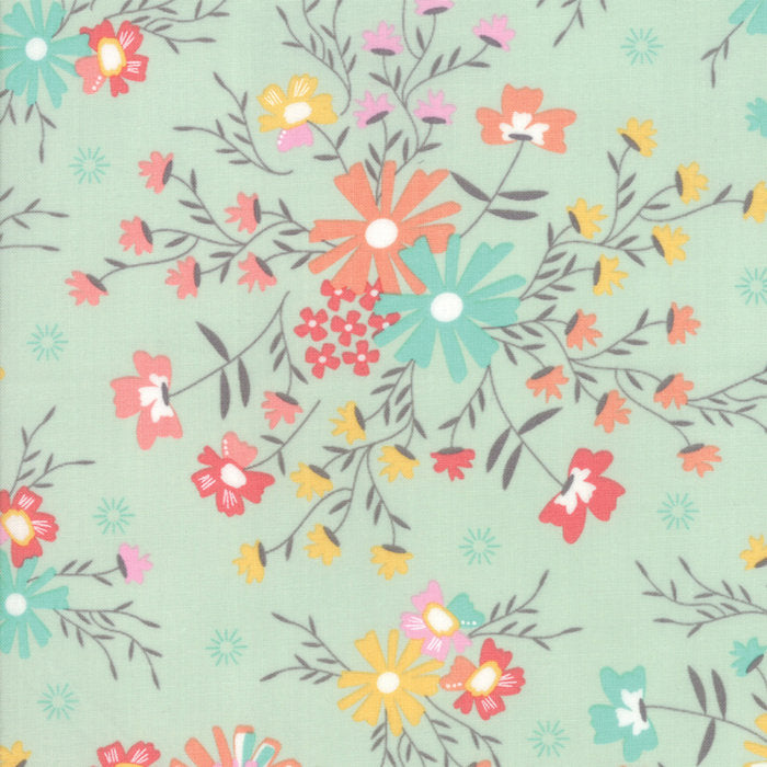 Aqua Sugar Creek Floral Fabric