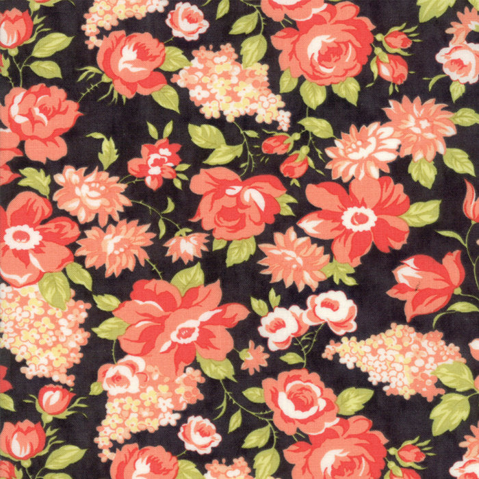 Black Blooms Fabric