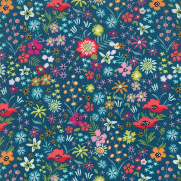 Dark Blue Flower Patch Fabric
