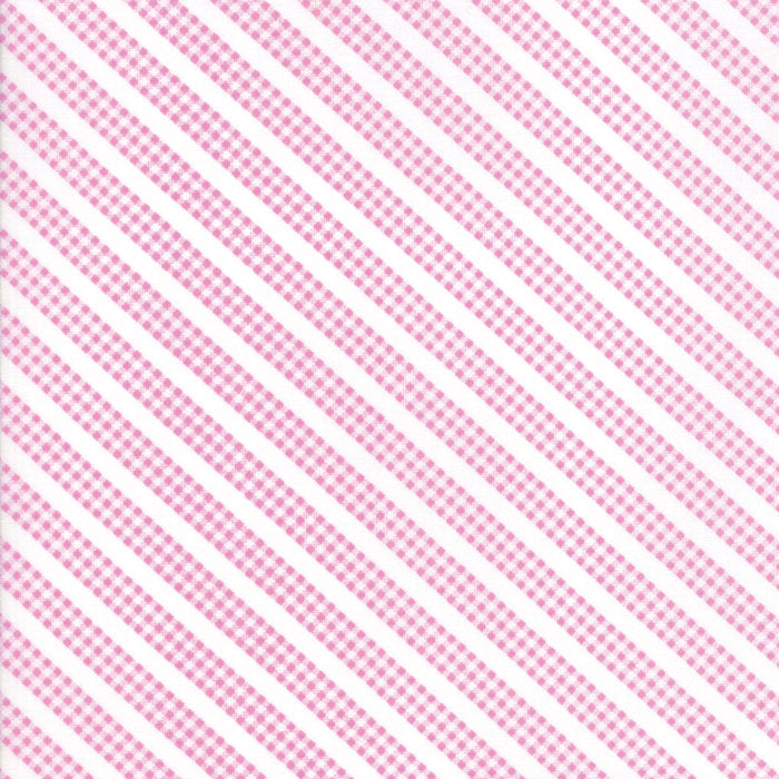 Pink Gingham Stripe Fabric from Sunnyside Up Collection at Cherry Creek Fabric