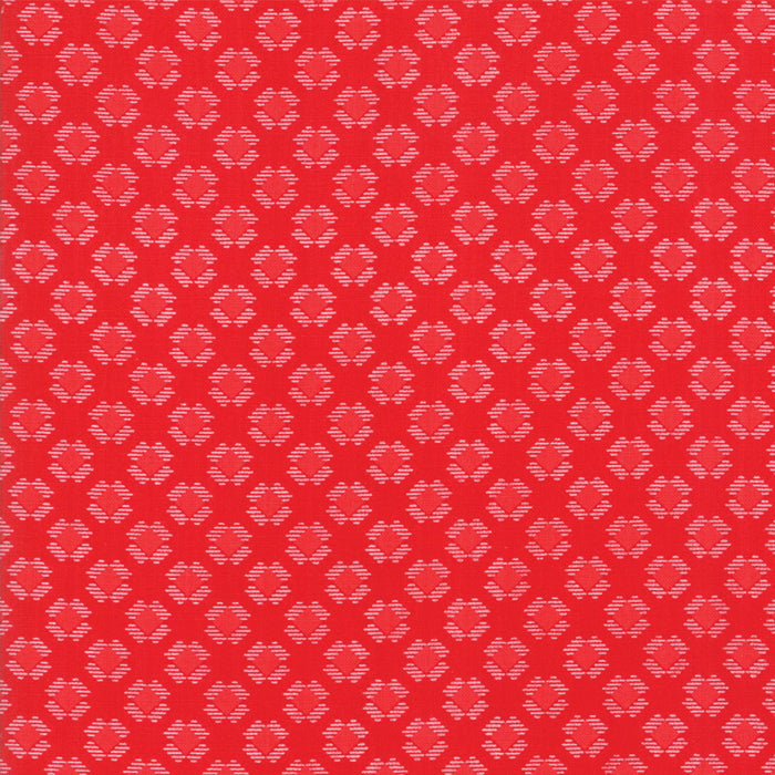 Red on Red Gingham Kisses Fabric