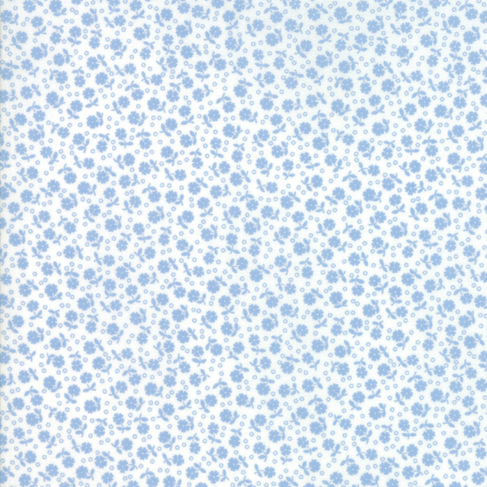 Blue Floral Dots Fabric