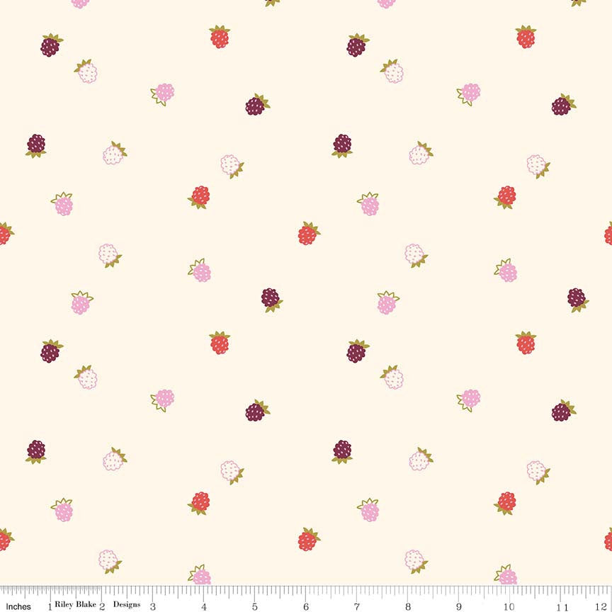 Cream Raspberries Fabric from Wild Bouquet Collection at Cherry Creek Fabric