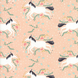 "60"" Peach Unicorns Galore Snuggle Fabric from Enchanted Collection at Cherry Creek Fabric"