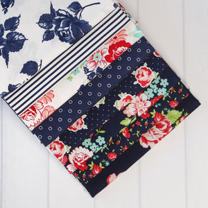 Smitten Navy One Yard Fabric Bundle