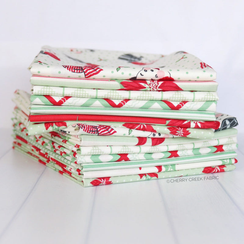 Sweet Christmas Green Half Yard Bundle - 7 pieces