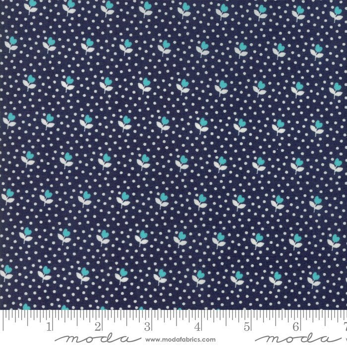 Navy Flower Bud Fabric from All Weather Friend Collection at Cherry Creek Fabric
