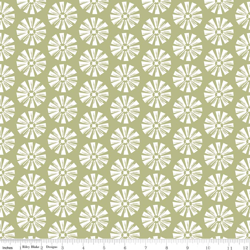 Green Windmill Fabric from Grandale Collection at Cherry Creek Fabric
