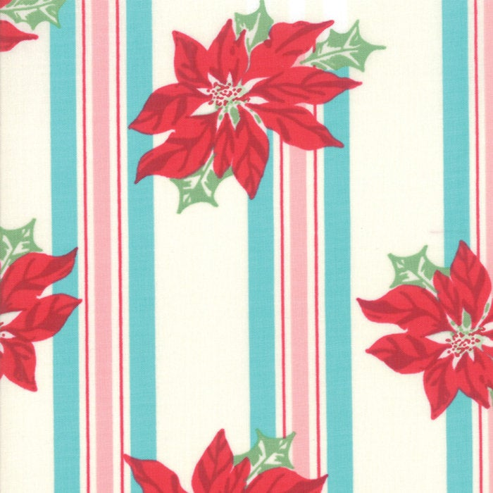 Sweet Christmas by Urban Chiks | Turquoise Poinsettia Stripe Fabric