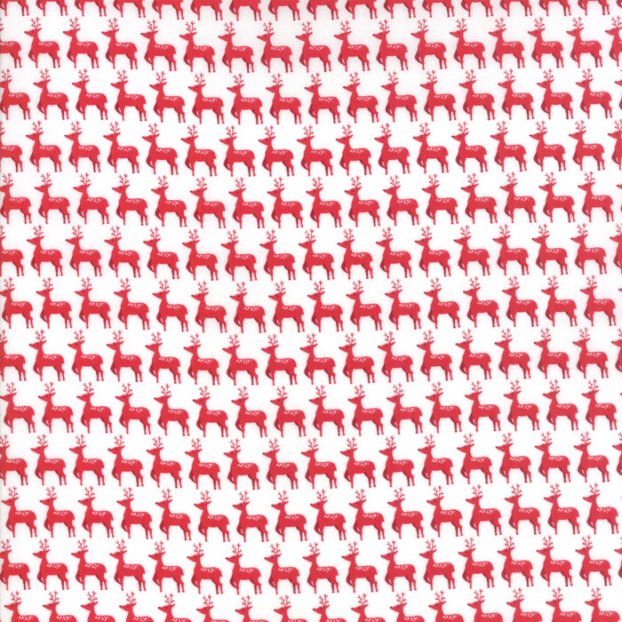 Sno by Northern Quilts | White Red Small Deer Fabric from Sno Collection at Cherry Creek Fabric