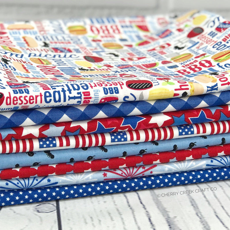 Patriotic Picnic White One Yard Bundle from Patriotic Picnic Collection at Cherry Creek Fabric