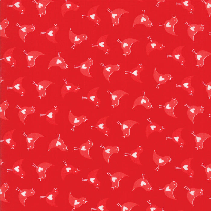 Red on Red Love Bird Fabric</br> END OF BOLT </br>3 yds