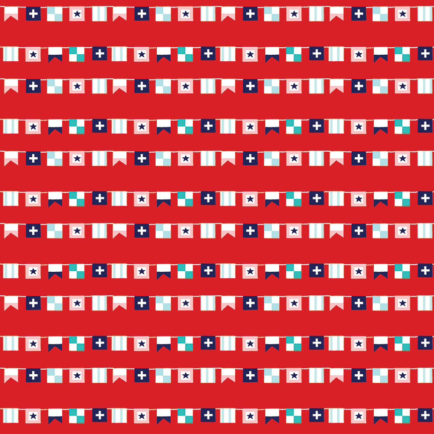 Red Seaside Flags Fabric from Seaside Collection at Cherry Creek Fabric