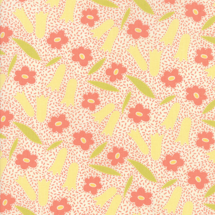 White Floral Buttercup Fabric