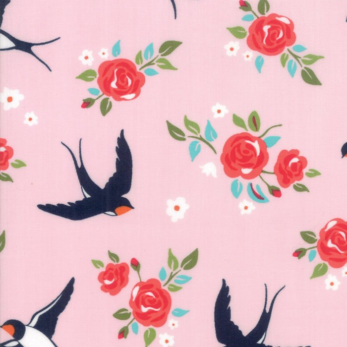 Pink Floral Bird Fabric from Rosa Collection at Cherry Creek Fabric