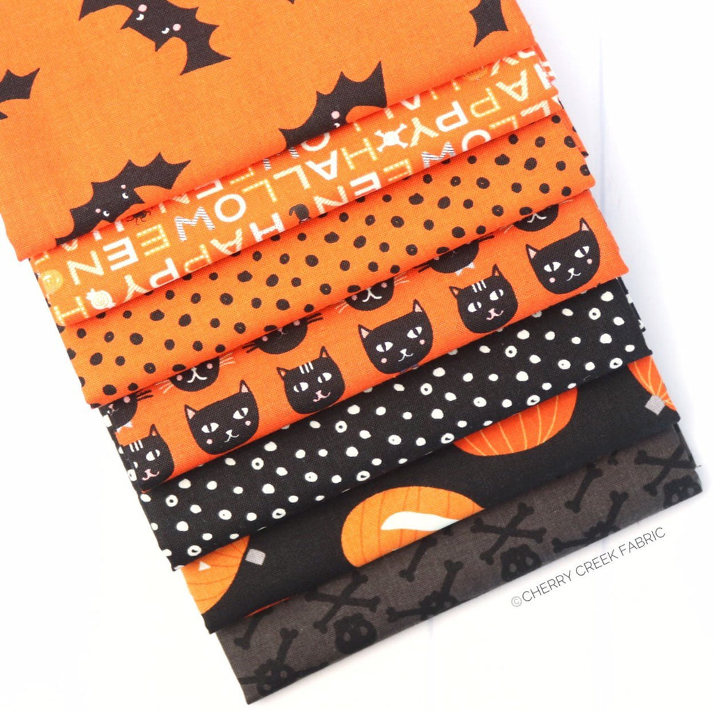 Cats Bats & Jacks Orange and Black Half Yard Bundle from Cats Bats & Jacks Collection at Cherry Creek Fabric