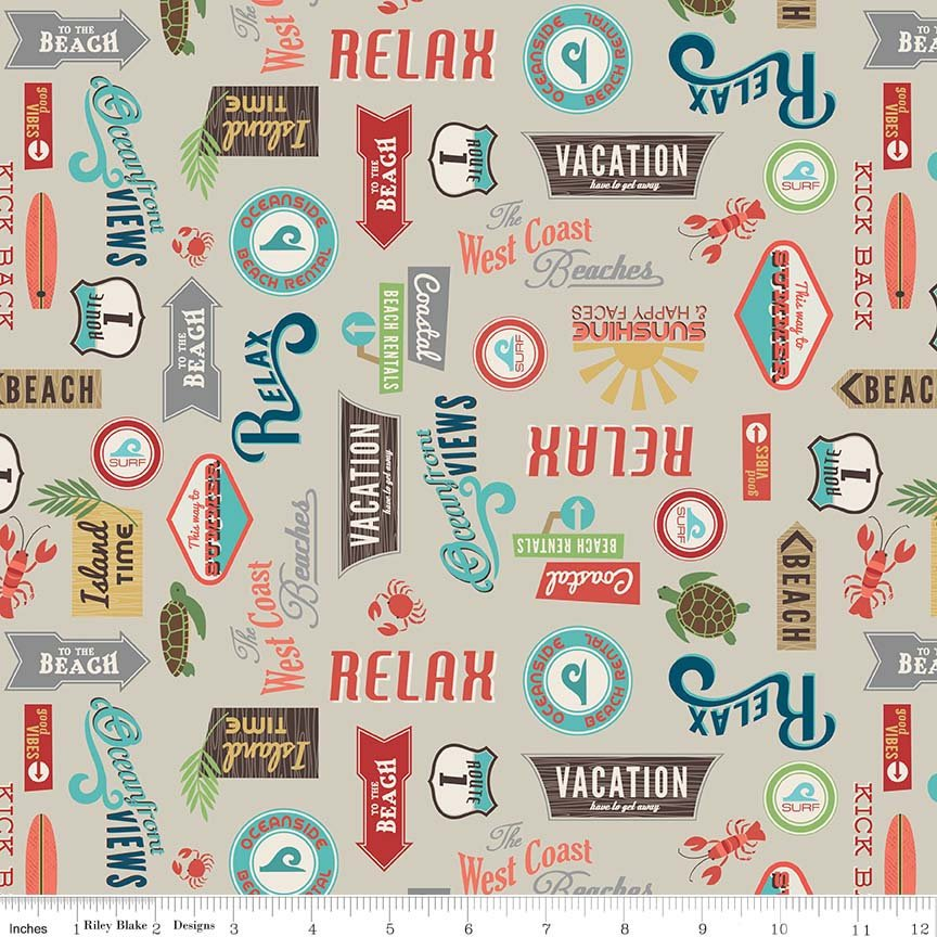 Tan Retro Sign Fabric from Offshore 2 Collection at Cherry Creek Fabric