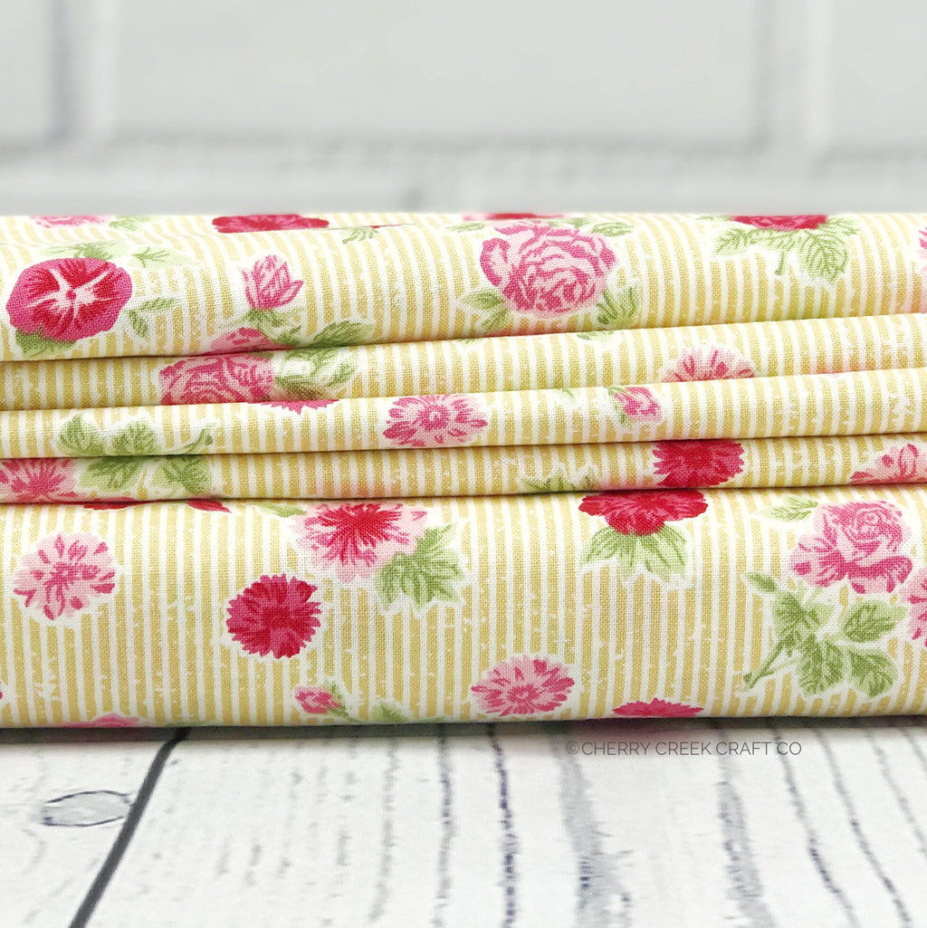 Yellow Cottage Floral Fabric from Cottontail Cottage Collection at Cherry Creek Fabric