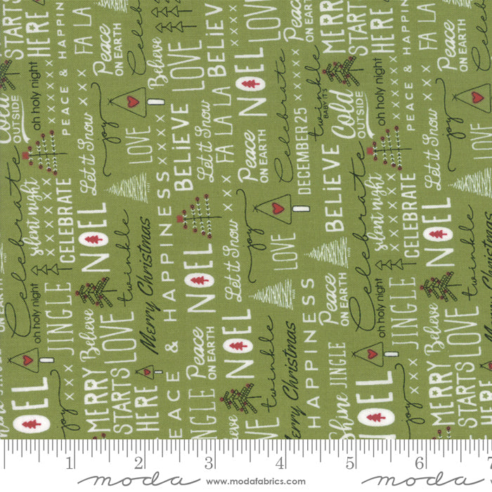 Merry Starts Here by Sweetwater | Green Christmas Text Fabric