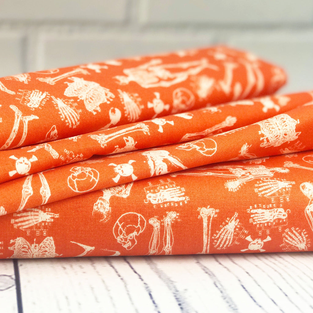Orange Skeleton Fabric